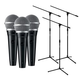Shure PGA48-XLR Dynamic Vocal Mic 3-Pack with Stands