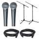Shure Beta 58A Vocal Mic Pair with Cables & Stands