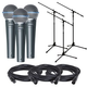 Shure Beta 58A Vocal Mic 3-Pack with Cables & Stands