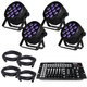 Blizzard LB Par Hex LED Wash Light 4-Pack with DMX Controller