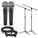 Shure SM58 Vocal Mic Pair with Stands & Cables