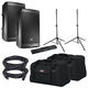 JBL EON610 Powered Speakers with Gator Stands & Totes
