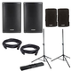 Fender Fortis F-12BT Powered Speakers with Covers & Gator Stands