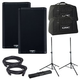 QSC K8.2 Powered Speakers & Totes w/ Gator Stands