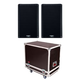 QSC K10.2 Speakers w/ Gator Tour Style Transporter
