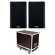 QSC K12.2 Powered Speakers (2) with Gator Tour Road Case