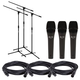 Alto ADM7 Dynamic Vocal Mic 3 Pack with Stands & Cables