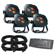 ADJ American DJ Ultra Hex Par 3 LED Wash Light 4-Pack with DMX Controller