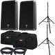 Electro-Voice ZLX15P Speakers & Ultimate TS-100-B Stands w/ Gator Totes