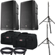 EV ELX200-15P 15-in Powered Speakers w/ Gator Totes & Ultimate Stands
