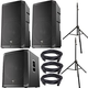 EV ELX200-15P Speakers (x2) & ELX200-18SP Subwoofer w/ Ultimate Stands