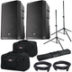 EV ELX200-12P 12-inch Powered Speakers w/ Gator Totes & Stands