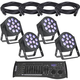 ADJ American DJ 12P Hex RGBAW+UV LED Light 4-Pack with Controller