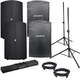 Avante A12 Powered Speakers (2) & Covers w/ Gator Stands