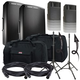 JBL Pro EON615 Powered Speakers w/ Stands & Gator Totes