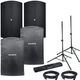 Avante A15 Powered Speakers (2) & Covers w/ Gator Stands