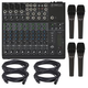 Mackie 1202VLZ4 12-Channel Mixer w/ (4) Mics & Cables