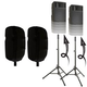 "Ultimate TS-100 Speaker Stands with 15"" Stretch Speaker Covers Black"