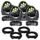 Eliminator Stealth Wash Zoom LED Moving Head 4-Pack with Cables