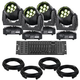 Eliminator Stealth Wash LED Moving Head 4-Pack Lighting System