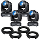 Eliminator Stealth Beam LED Moving Head 4-Pack with Cables