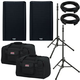 QSC K10.2 Speakers & Ultimate TS-100-B Stands w/ Gator Totes