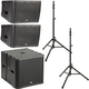 QSC KLA12-BK Line Array Speakers (x2) & KLA181-BK Sub w/ Stands