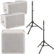 QSC KLA12-WH Line Array Speakers (x2) & KLA181-WH Sub w/ Speaker Stands