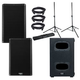 QSC K12.2 Powered Speakers (x2) & KS112 Subwoofer w/ Gator Stands