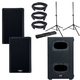 QSC K8.2 Powered Speakers (x2) & KS112 Subwoofer w/ Gator Stands