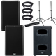 QSC K10.2 Powered Speakers (x2) & KS112 Subwoofer w/ Gator Stands