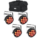 Chauvet SlimPAR Q12 BT LED Par Wash 4-Pack w/ Bag