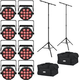 Chauvet SlimPAR T12 BT Bluetooth LED Par Light 8-Pack w/ Stands & Gator Bags