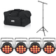 Chauvet SlimPAR Q12 BT Bluetooth LED Par Light 4-Pack w/ Stand & Gator Bag