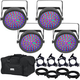 Chauvet EZpar 64 RGBA Wash Light 4-Pack w/ Gator Bag & Accessories