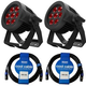ADJ American DJ 7P Hex IP RGBAW+UV IP65 Rated LED Par 2-Pack w/ IP Rated Cables