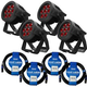 ADJ American DJ 7P Hex IP RGBAW+UV IP65 Rated LED Par 4-Pack w/ IP Rated Cables