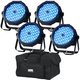ADJ American DJ Mega Go Par64 Plus RGB+UV Wash Light 4-Pack w/ Gator Bag