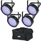 Chauvet SlimPAR 64 RGB LED Wash Light 4-Pack w/ Gator Bag