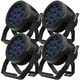 ADJ American DJ 12P HEX IP RGBAW+UV IP65 Rated LED Par Light 4-Pack