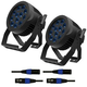 ADJ American DJ 12P HEX IP RGBAW+UV LED Par Light 2-Pack w/ DMX Cables