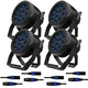 ADJ American DJ 12P HEX IP RGBAW+UV IP65 LED Par Light 4-Pack w/ IP Rated Cables