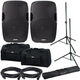Gemini AS-12BLU 12-Inch Powered Speakers w/ Gator Totes & Stands