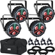 Chauvet FXpar 3 RGB+UV Par Light 4-Pack w/ Accessories & Gator Bag