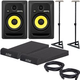KRK RP6 G3 Studio Monitors w/ On Stage Stands and Isolation Pads