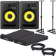 KRK RP8 G3 Studio Monitors w/ On Stage Stands and Isolation Pads