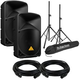 Behringer B112D 12-Inch Powered Speakers w/ Stands & Cables