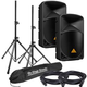 Behringer B112W 12-Inch Powered Speakers w/ Stands & Cables