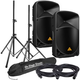 Behringer B115W 15-Inch Bluetooth Powered Speakers w/ Stands & Cables