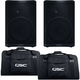 QSC CP12 12-Inch 2-Way 1000W Speaker Pair w/ Totes